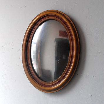 Convex Oval Mirror In Antique Gold Wood Frame