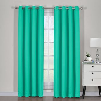 Turquoise Ava Blackout Weave Curtain Panels With Tie Backs Pair (Two Panels )
