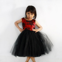 Red and Black Lace Tutu Girl Dress. Flower Girl's Dress, Party Dress, Formal Girls Dress, Satin and lace dress, Girls tutu dress
