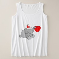 Christmas Elephant Design Plus Size Tank Top