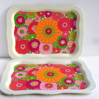 Vintage Tin Tray Pink and Orange Floral Mod