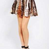 Urban Outfitters - Reverse Gold Cutout Skater Skirt