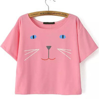 Pink Short Sleeve Cat Print Cropped Graphic T-Shirt