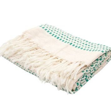 Kelly Green Dot Cotton Throw Blanket