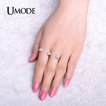 UMODE Micro Cubic Zirconia Two Finger Rings White Gold Color Between the Finger Ring Jewelry for Women Anillos Mujer UR0311