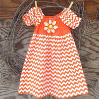 Orange Chevron  Dress, Girls Peasant Dress, Orange and white, Flower, or Bow,  Fall, Thanksgiving, 12, 18, 24 months, 2 T, 3 T, 4 T  size