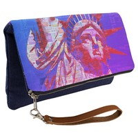 Statue of Liberty with 4th of July Word Cloud Clutch