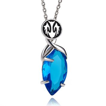Crystal Chronicles Necklace Blue Crystal Drop Pendants Classic Punk Women And Men Statement Necklace