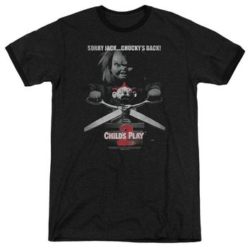 Childs Play Ringer T-Shirt Sorry Jack Chuckys Back Black Tee