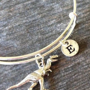 Dinosaur Bracelet, Dinosaur necklace jewelry, Dinosaur Expandable Bangle, Personalized Bracelet, Initial Bracelet # 31