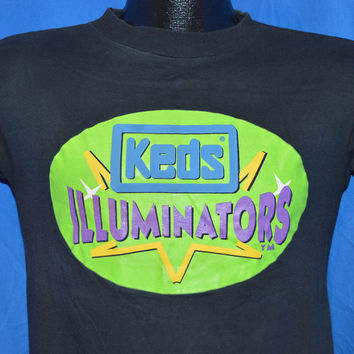 90s Keds Illuminators Light Up Sneakers Neon Black t-shirt Small