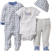 Carter's 4 Piece Layette Set - Heather-6 Months