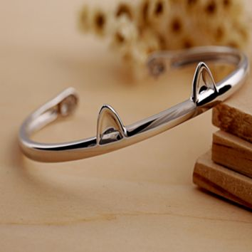 Cute Cat Paws Bangle - 925 Sterling Silver