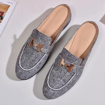 Hermes Women Fashion Mules Shoes Slipper Shoes