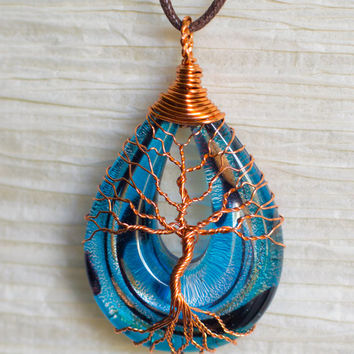 Tree of Life Blue and Gold Glass Fused necklace Wire Wrapped with Copper