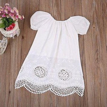Summer Kids Baby Girls Casual Cute Lace Princess Party Dress Clothes White Tassel Beach Infant dresses Clothing