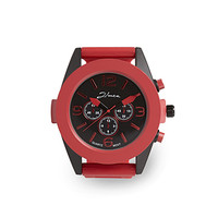 Rubber Link Chrono Watch Red One