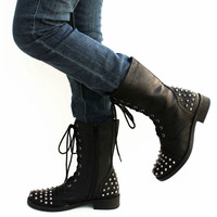 New Womens FA33 Black Studded Spike Mid Calf Military Combat Boots Sz 5.5 to 10