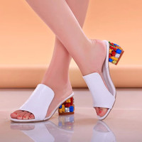 summer open toe High Heels Sandals spring sweet women's thick heel shoes fashion Women Casual Shoes HOT Shoes Woman #D99