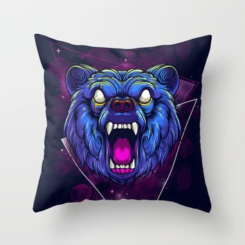 Frenzy Bear Throw Pillow by Angoes25