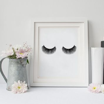 Eyelashes Fashion Print Wall Art Decor , Modern Minimalist Beauty Product Lashes Poster Canvas Painting Girl Room Makeup Art