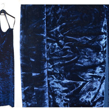 Blue Velvet Maxi Dress Long Formal Stretchy 90s 1990s Vintage Medium M