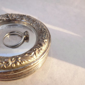 Round Silver Dish, Vintage Floral Sterling Silver Dresser Tray, S Kirk and Son Repousse, Old Fashioned Metal Butter Pat