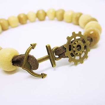 Man's Wood Bead Bracelet Leather Strung Wood Beads Gears And Anchor Bracelet For Men