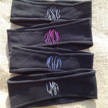 Monogrammed Fleece Headband - Ear Warmers - Ski Band - Ear Muff