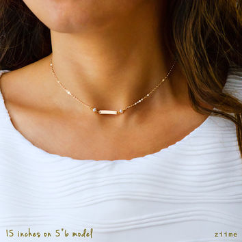 Initial Choker, Gold Choker, Silver Choker, Rose Gold Choker,Dainty Bar Choker Necklace, Simple Choker, Personalized Bar, Bar Necklace B316c