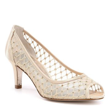 Adrianna Papell Jamie Jeweled Mesh Peep-Toe Pumps | Dillards