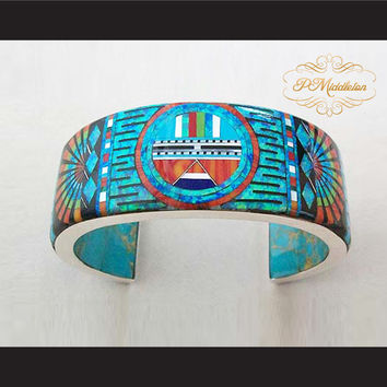 P Middleton Sun Face Cuff Bracelet Sterling Silver .925 with Semi-Precious Stones