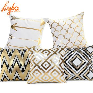 Hyha Geometry Bronzing Cushion Cover Cotton Polyester Bohemian Printed Pineapple Tropical Home Decorative Pillows Cover