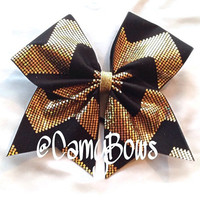 Cheer Bow Shimmer Chevron Black and Gold