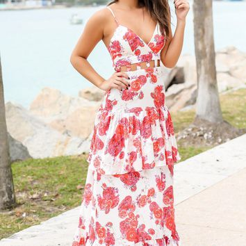 Rose Floral Maxi Dress with Cut Out Detail