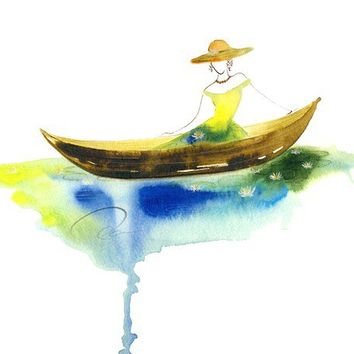 Pondering Paradise - Art Print classic Victorian fashion sketch design watercolor Lady Shalott painting woman spirit boat Oladesign 11x14