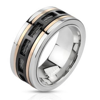 Three Tone Hollow Rectangle Patterns Over Black Wire Stainless Steel Band Ring