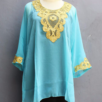 Blouse Sarrah Kaftan Tops Tosca Blue Dress Caftan Dress Chiffon Embroidery