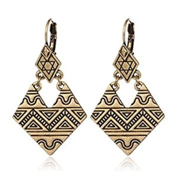 HUIMEI Ancient Silver Plated Double Layer Geometric Carving Ethnic Mystical Totem Dangle Earring