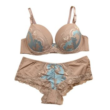 Embroidery Women Underwear Bra Sets Pink Sexy Luxury Lingerie panty bras Transparent Wedding Bra Sets Fashion