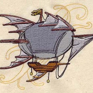 Steampunk Airship embroidered feeding bib by MorningTempest