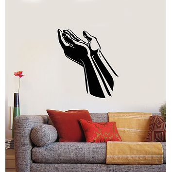 Vinyl Wall Decal Praying Hands Prayer Room Religion Stickers Mural (g1628)