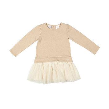 Kardashian Kids Girls Gold Metallic French Terry Sweatshirt Dress with Glitter Tulle Skirt - Toddler
