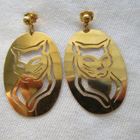 1980s Cut Work Cat Earrings