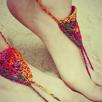 Handmade Bohemian Crochet Barefoot Sandals, Hippie Foot Thongs, Hippie Gladiator, Beach, Festival
