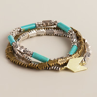 Gold, Turquoise and Silver Arrows Bracelets, Set of 3 - World Market