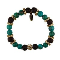 EB62A - Solitary Sparkling Colored Rhinestone Stretch Rudrani Bead and Semi Precious Stone Bracelet with Donut Rings