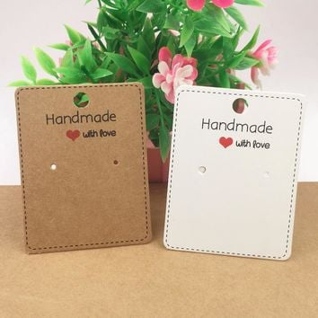 """200pcs 6.5x5cm Kraft paper """"Handmade with love""""Earring Cards Jewelry Display Card Earring Classic Packing Cards"""