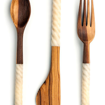 Antelope Antler Wild Olive Wood Serving Utensils (Set of 3)