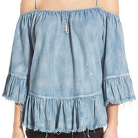 BLANKNYC Ruffle Off the Shoulder Denim Top | Nordstrom